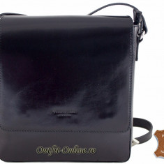 Geanta barbat piele naturala neagra - import Italia - geanta neagra umar postas - Geanta Barbati, Marime: Masura unica, Culoare: Negru, Geanta tip postas, Negru
