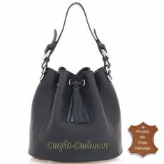 Geanta neagra piele naturala Adina - import Italia - geanta dama neagra tip sac, Geanta saculet, Negru