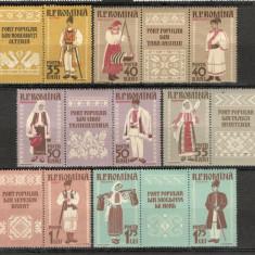 Romania.1958 Costume nationale-tripticuri dantelate  XR.214