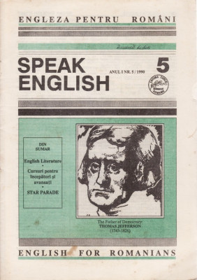 SPEAK ENGLISH NR.5/1990 - REVISTA PT INVATAREA LIMBII ENGLEZE foto