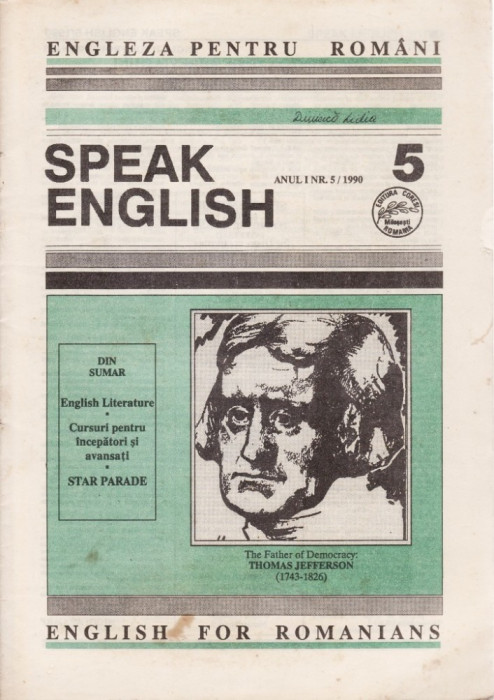 SPEAK ENGLISH NR.5/1990 - REVISTA PT INVATAREA LIMBII ENGLEZE foto mare