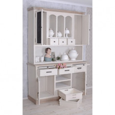 Bufet pentru bucatarie din lemn alb cu maro HMB040 - Bufet bucatarie