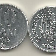 MOLDOVA 10 BANI 2015 [1] a UNC, livrare in cartonas, Europa, Aluminiu