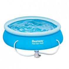 Piscina Fast Set Bestway, 366 cm x 76 cm, pompa recirculare inclusa, noua - Piscina copii Bestway, Unisex, Bleu