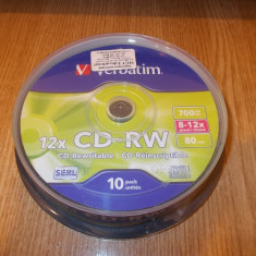 Pack 10 buc CD-RW 12x Verbatim reinscriptibil rewritable Noi Sigilate