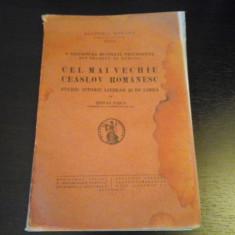 Cel mai vechiu ceaslov romanesc - Stefan Pasca, Academia Romana, 1939, 140 pag