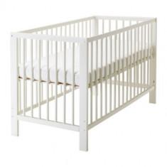 Patut bebe tip - IKEA Gulliver - Patut lemn pentru bebelusi Ikea, 125X65cm, Alb