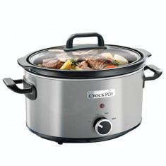 Slow cooker Crock Pot 3.5 Litri, 210 W, 4 persoane, Pastrare la cald, Ceramica termica, Inox - Multicooker