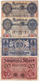 1.Germania lot 4 bancnote 20 MARK 1910 1914 1915 1918  20 MARCI