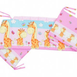 Aparatoare Laterala Mykids Happy Giraffe Roz 120X60 - Protectie patut