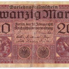 Germania bancnota 20 MARK 1918 20 MARCI