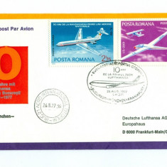 Romania - FDC 1977 - 10 Ani Zbor Lufthansa: Bucuresti-Munchen-Frankfurt, Europa, Aviatie