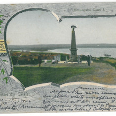 3839 - L i t h o, Dolj, CALAFAT, Monument CAROL I - old postcard - used - 1904 - Carte Postala Oltenia pana la 1904, Circulata, Printata