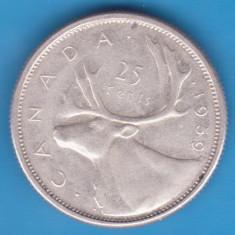 (1) MONEDA DIN ARGINT CANADA - 25 CENTS 1959, America de Nord