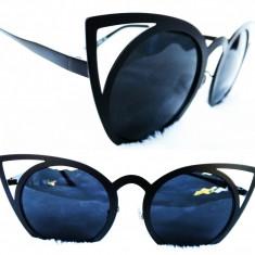 Ochelari de Soare Ochi de pisica Cat Eye, Unisex, Negru, Fara protectie, Metal