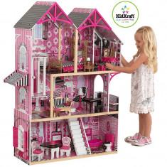 Casuta de papusi din lemn pentru fetite Couture Bella Dolhouse KidKraft 65944, Roz