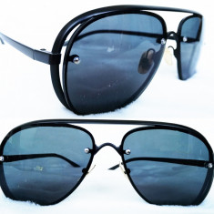 Ochelari de soare aviator, Unisex, Negru, Fara protectie, Metal