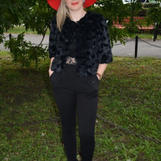 Jacheta de ocazie realizata din blana sintetica fina, neagra (Culoare: NEGRU, Marime: 42) - Jacheta dama