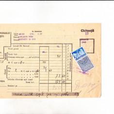 Bnk fil Timbru fiscal 3 lei + 2 lei Fondul aviatiei pe chitanta 1940
