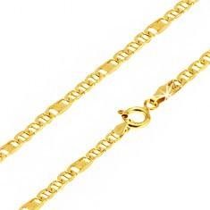 Lanț aur 14K, ochiuri ovale cu pivot, za cu plasă, 550 mm