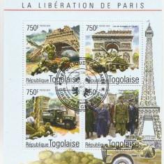 Togo 2014 - 70th Paris ww2, bloc stampilat