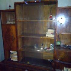Biblioteca lemn nuc, vintage. - Biblioteca living
