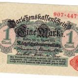 1.Germania bancnota 1 MARK MARCA 1914 a.UNC serie ROSIE cu nuanta verde pe verso