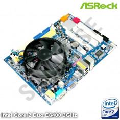 KIT Placa de baza ASRock + Intel Core 2 Duo E8400 3GHz + Cooler, cu GARANTIE !!!, Pentru INTEL, LGA775, DDR2, Contine procesor, MicroATX