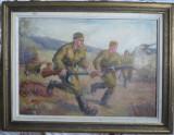 Cumpara ieftin Infanteristi la atac , ulei / carton , semnat Aug. Spirodonescu , vechi