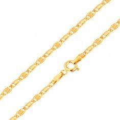 Lanț realizat din aur galben de 14K, zale netede și cu raze, 500 mm - Lantisor aur