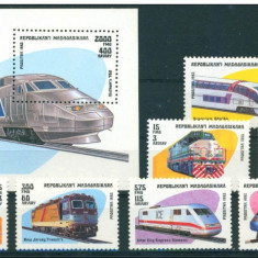 Madagascar 1993, trenuri, locomotive, seria +colita, MNH** - Timbre straine, Nestampilat