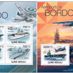 G. Bissau, 2012, aviatie, nave, portavioane, seria (in bloc)+colita, MNH** - Timbre straine, Nestampilat