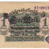 2.Germania  1 MARK MARCA 1914 a.UNC serie NEAGRA cu nuanta verde pe verso