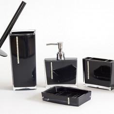 Set pentru baie 5 bucati din acril culoare Negru cu insertii cristal - Set mobilier baie