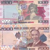 Bancnota Sierra Leone 1.000 si 2.000 Leones 2013/2010 - P30b/P31a UNC ( set x2 ) - bancnota africa
