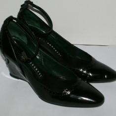 Pantofi dama de lac FRATELLI ROSSETTI negri cu platforma marimea 38 - Pantof dama, Culoare: Negru, Piele naturala, Cu toc