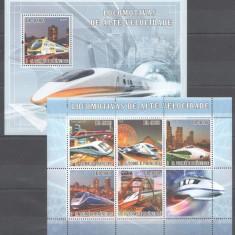 Sao Tome, 2007, trenuri de mare viteza, seria(in bloc)+colita, MNH** - Timbre straine, Nestampilat