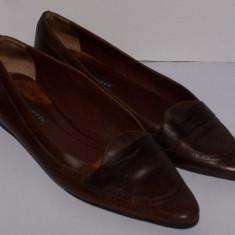 Pantofi josi stil balerini dama RALPH LAUREN maro marimea 39, 5 din piele 100%, Piele naturala