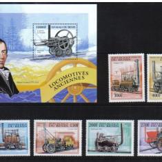Benin, 1997, trenuri, locomotive, seria+colita, MNH** - Timbre straine, Nestampilat