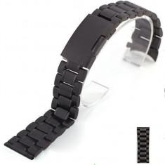 BRATARA CEAS Metalica INOX-Curea-NEAGRA-2017-LATIME 20mm SAU 22mm CALITATEA 1 - - Curea ceas din metal