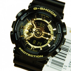 CASIO G-SHOCK GA-110 BLACK&GOLD, !!! MODEL NOU BACKLIGHT !! POZE REALE !! REDUS - Ceas barbatesc Casio, Sport, Quartz, Cauciuc, Alarma, Analog & digital