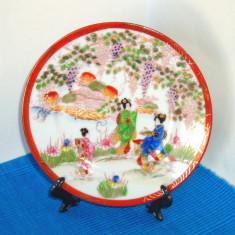 Farfurioara portelan cca 1900 stencil, hand made - Geisha - Meiji, Kutani Japan - Arta din Asia