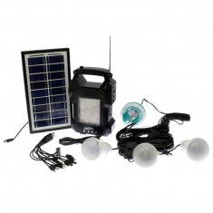 Lanterna cu radio GD-8050, panou solar, 4 becuri