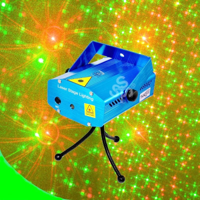 Laser proiector club disco rosu si verde stroboscop senzor muzica ventilator foto