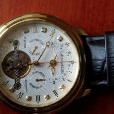 Ceas automatic cu diamante placat cu aur 24k - Ceas barbatesc Calvaneo, Mecanic-Automatic