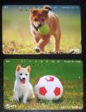 JAPONIA - ANIMALE DE COMPANIE. CAINI. LOT 2 CARTELE TELEFONICE