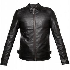 Jacheta neagra din piele ecologica, pentru barbati