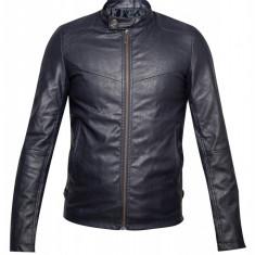Jacheta bleumarin din piele ecologica, pentru barbati
