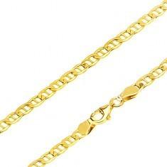 Lanț aur - zale plate eliptice despărțite de pivot, 600 mm - Lantisor aur