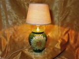 Veioza ceramica glazurata, model florala, vintage, Spania
